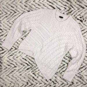 TOPSHOP cable cream asymmetrical sweater